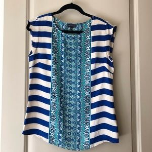 Blue and green striped & floral blouse